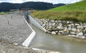 Rückhaltebecken der Chise als Hochwasserschutz im Groggenmoos zwischen Bowil und Zäziwil. © Andreas Blatter